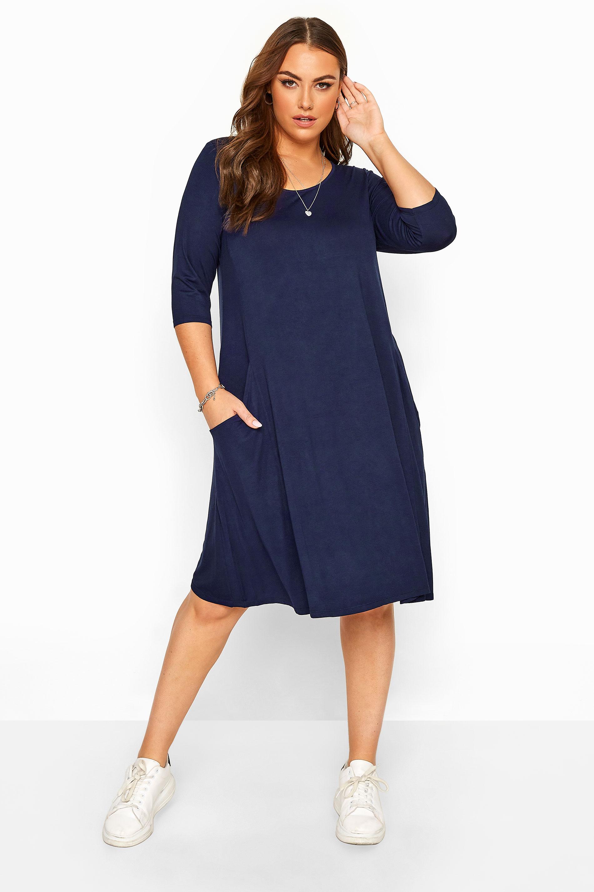 Navy Drape Pocket Dress