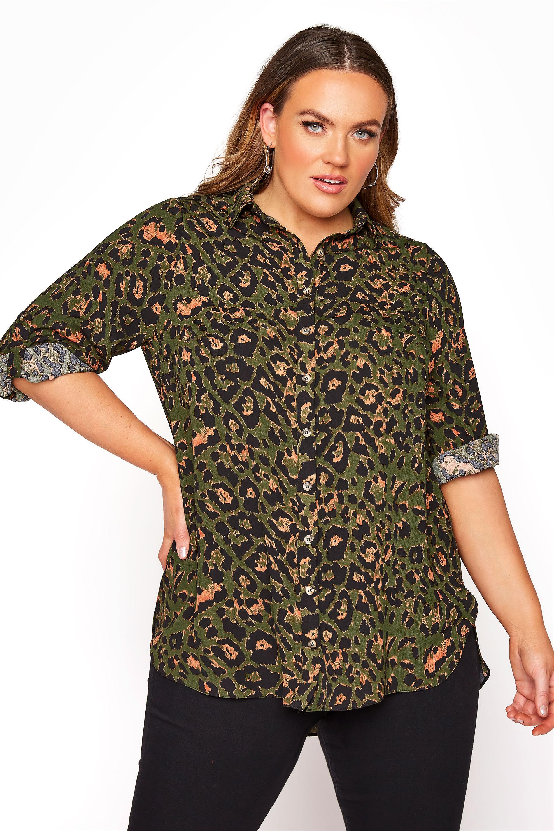 Lang geschnittene Bluse mit Leoparden Print, Khaki