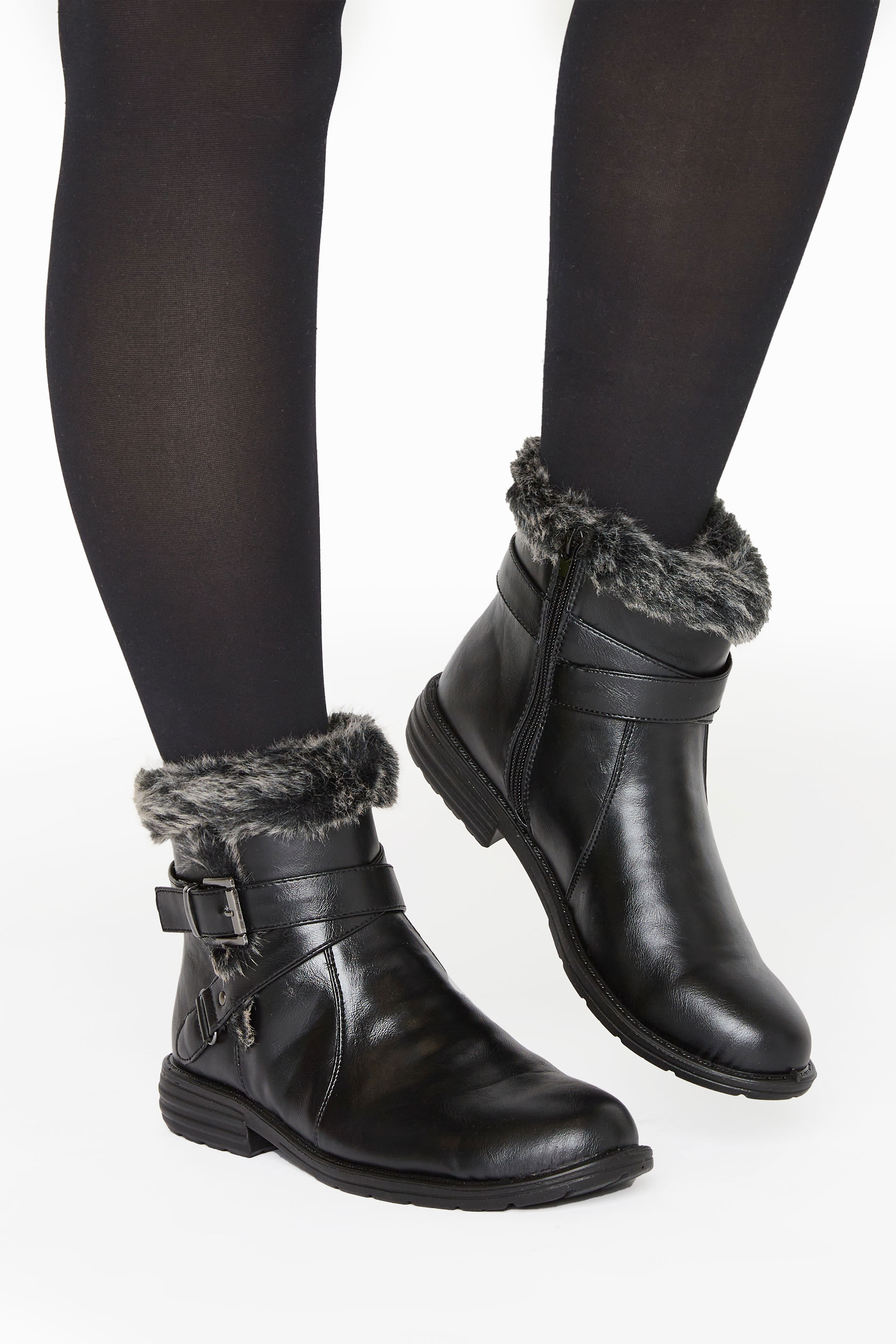 Black Vegan Faux Leather Buckle Ankle Boots In Wide Fit
