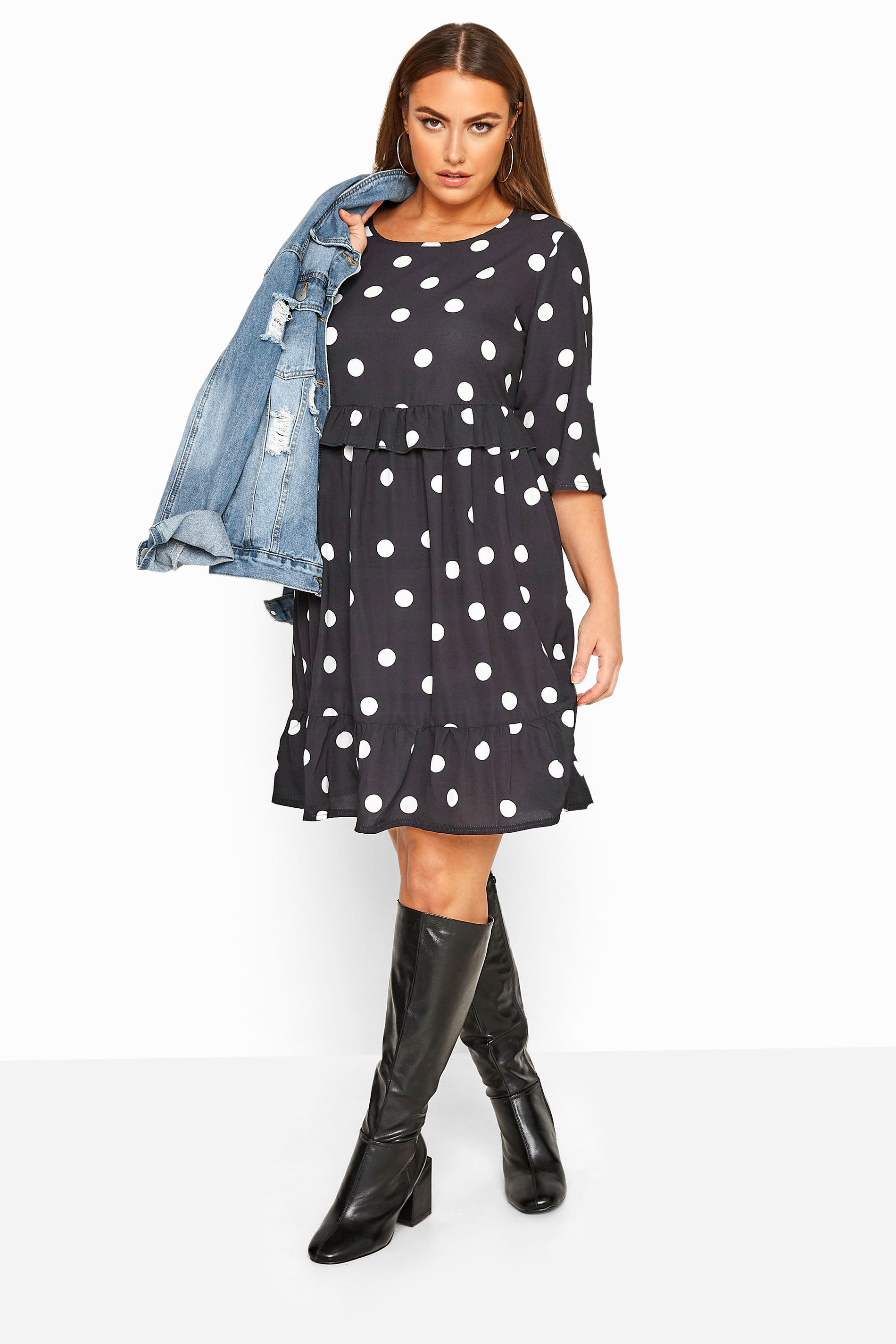LIMITED COLLECTION Black Polka Dot Frill Smock Dress