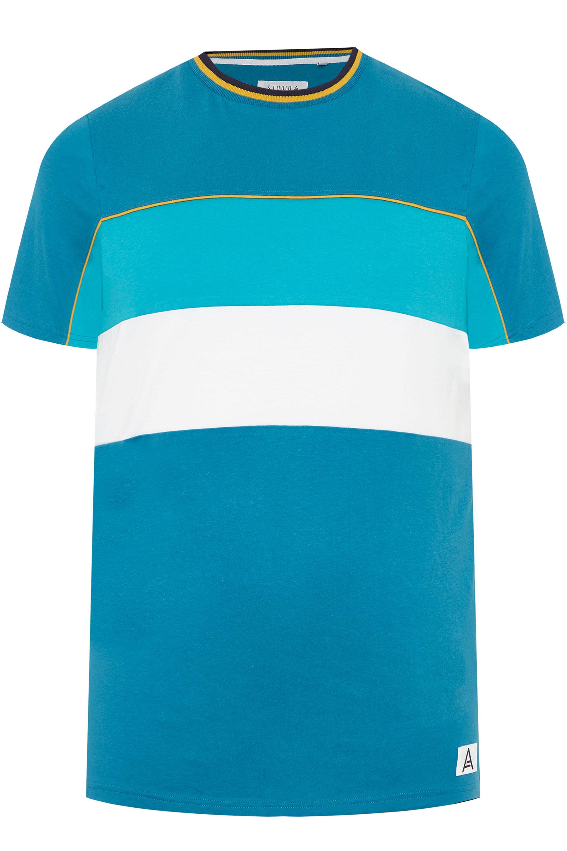 STUDIO A Blue Colour Block T-Shirt