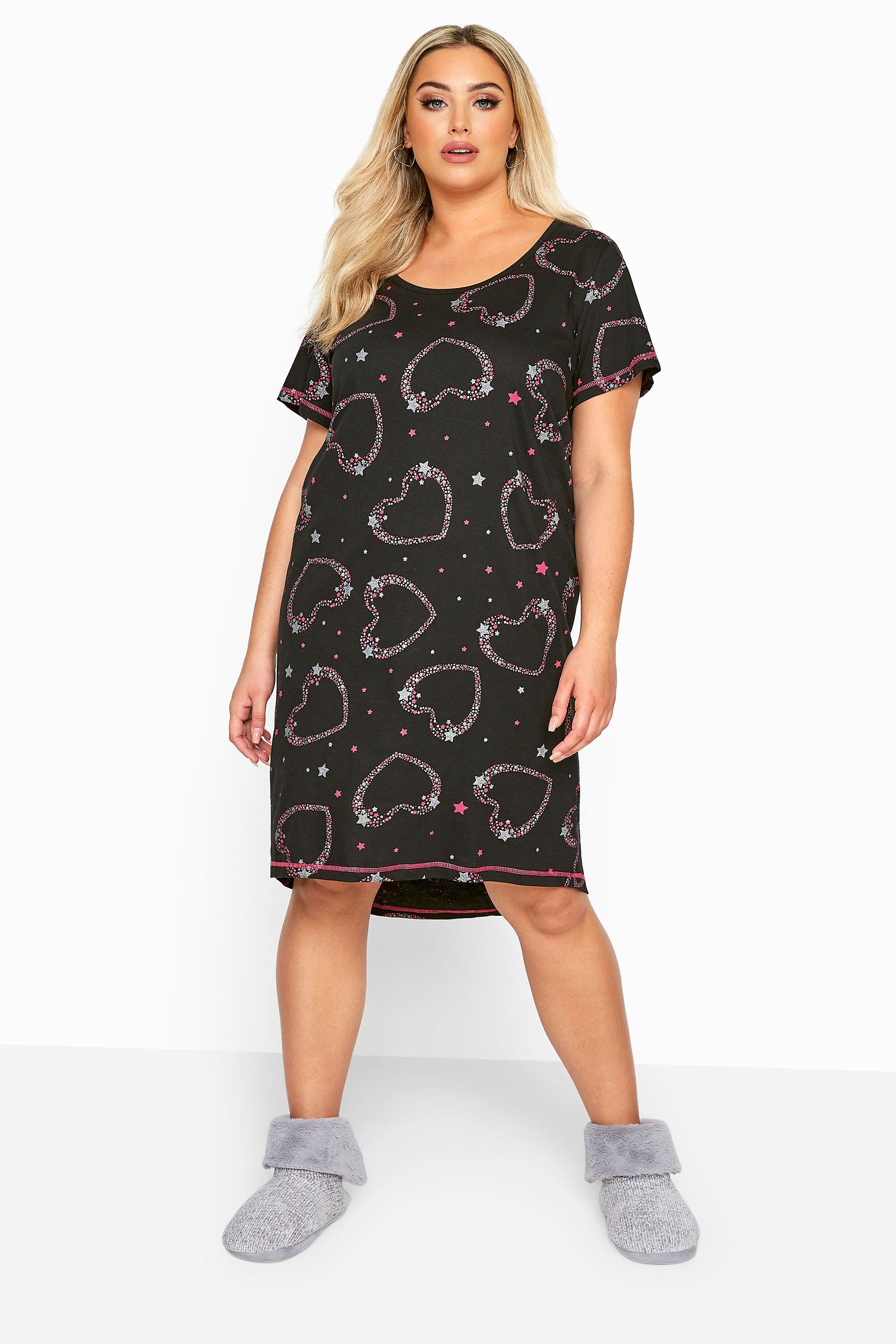 Nachthemd mit Glitzer-Herzen - Grau