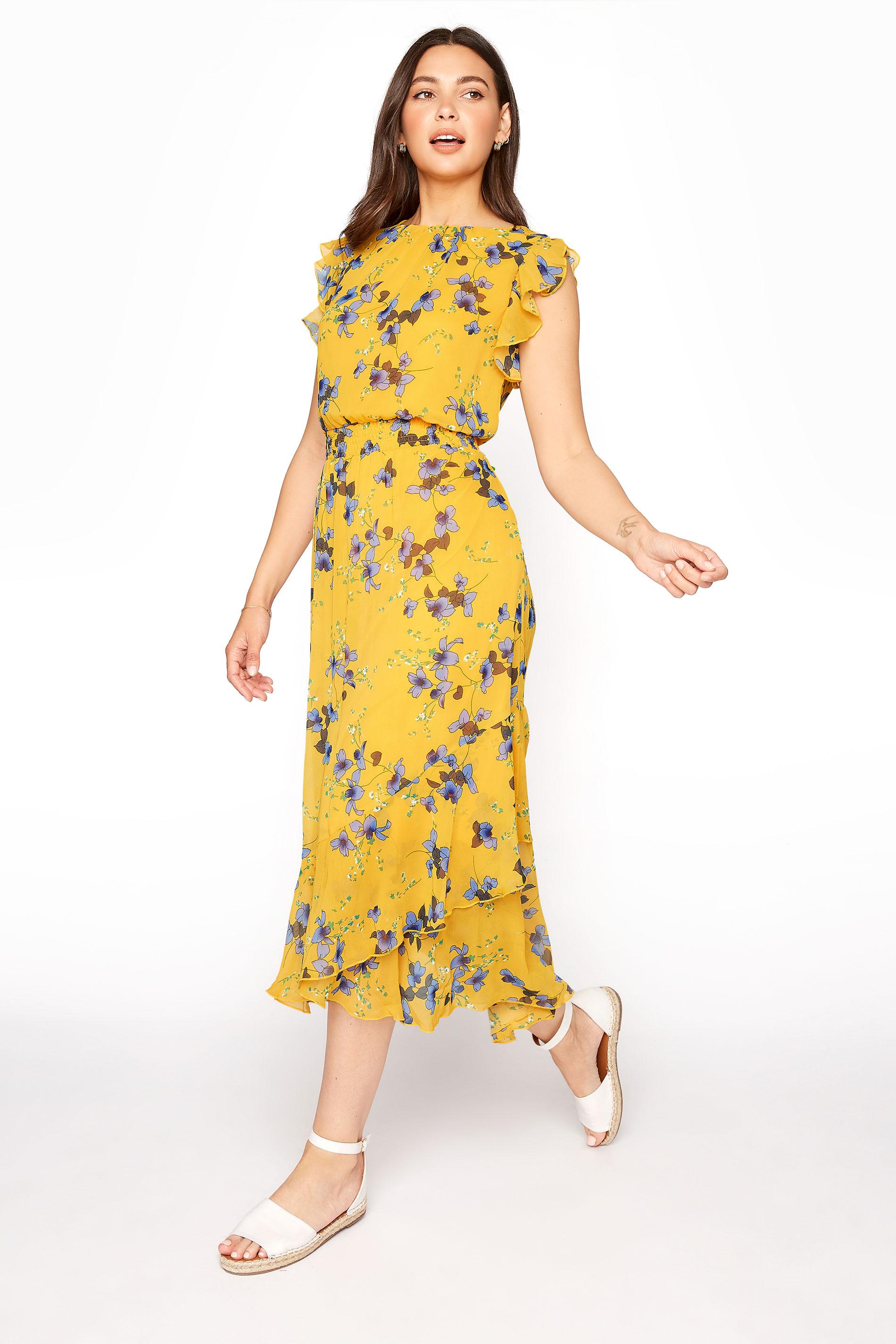 LTS Yellow Shirred Waist Chiffon Midi Dress_A.jpg