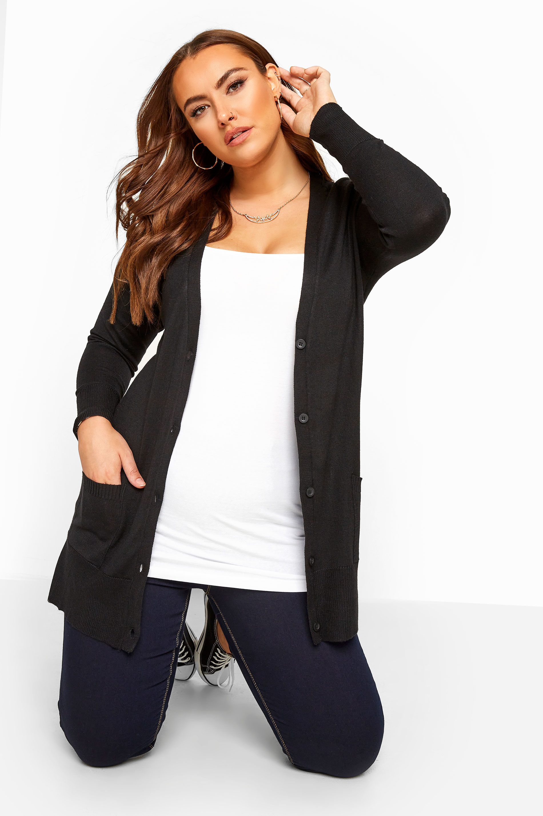 Black Button Through Boyfriend Cardigan