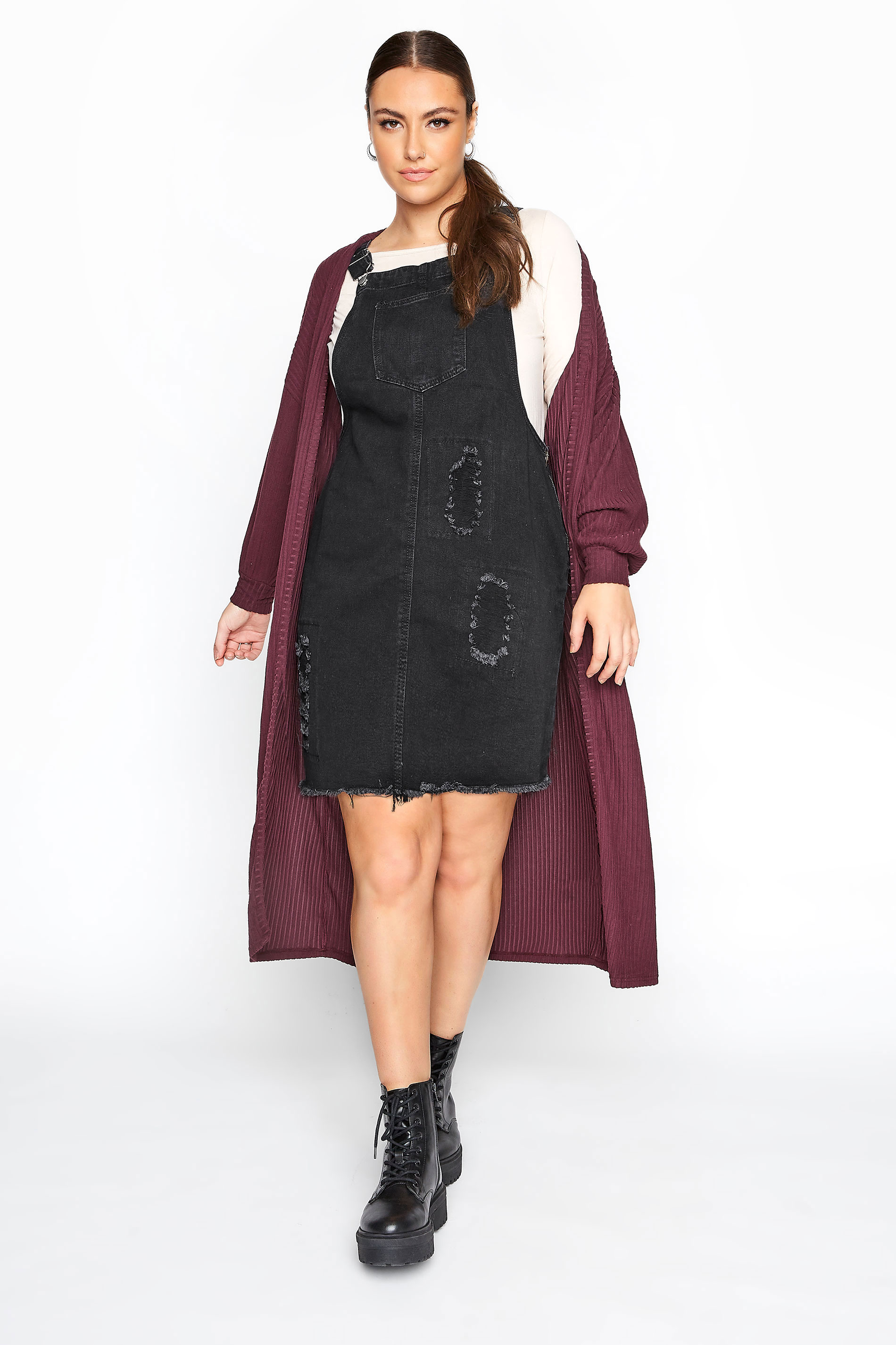 LIMITED COLLECTION Charcoal Grey Distressed Pinafore Dress