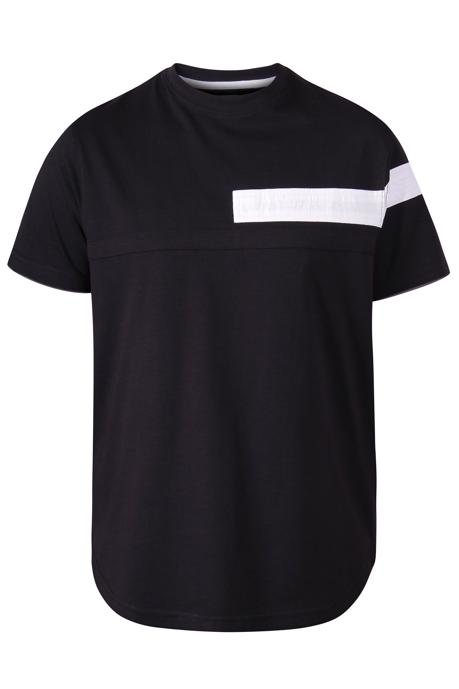 D555 Black Couture Cut And Sew Curved T-Shirt