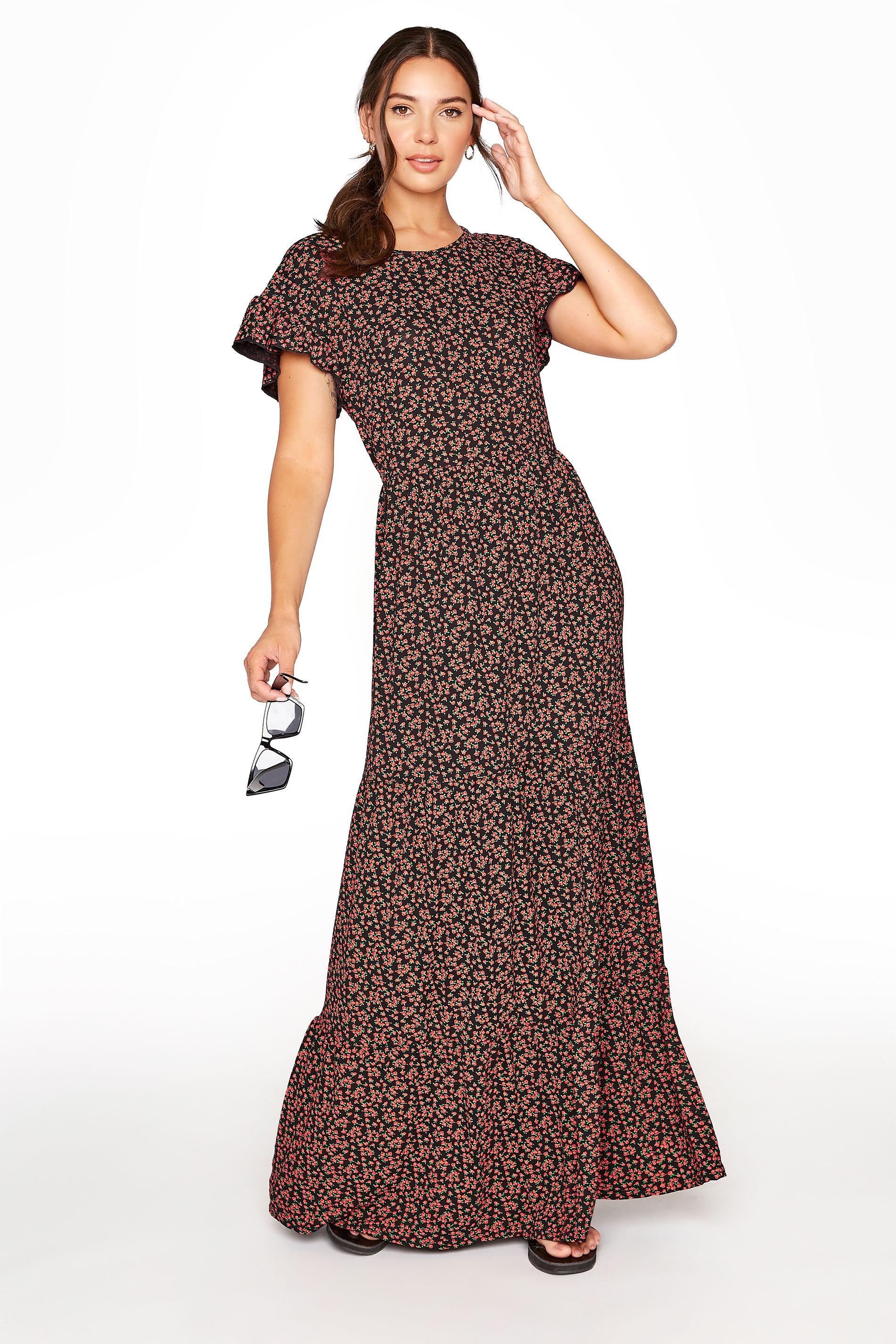 LTS Black Floral Tiered Midaxi Dress
