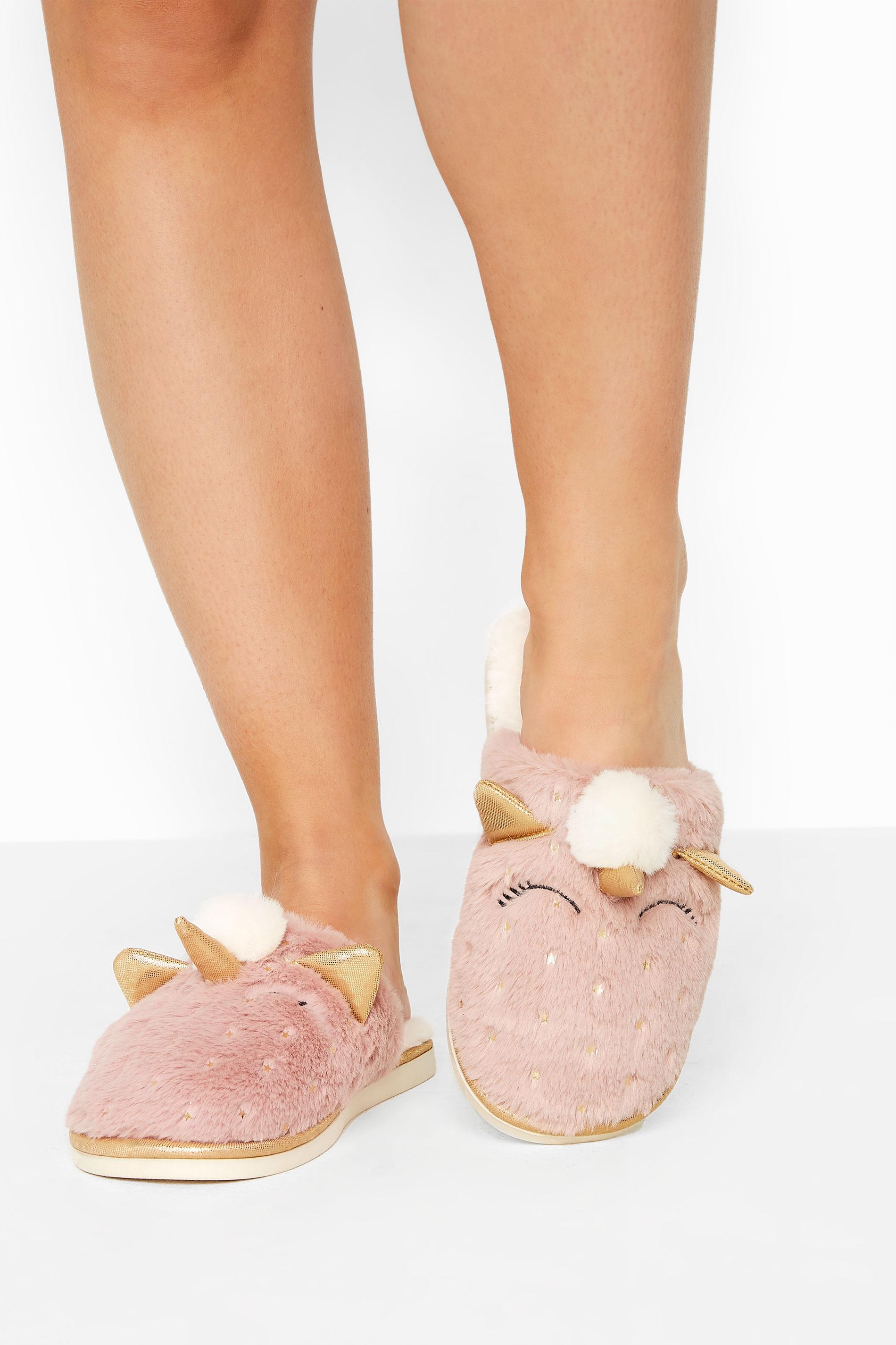 Pink Vegan Faux Fur Unicorn Mule Slippers In Regular Fit