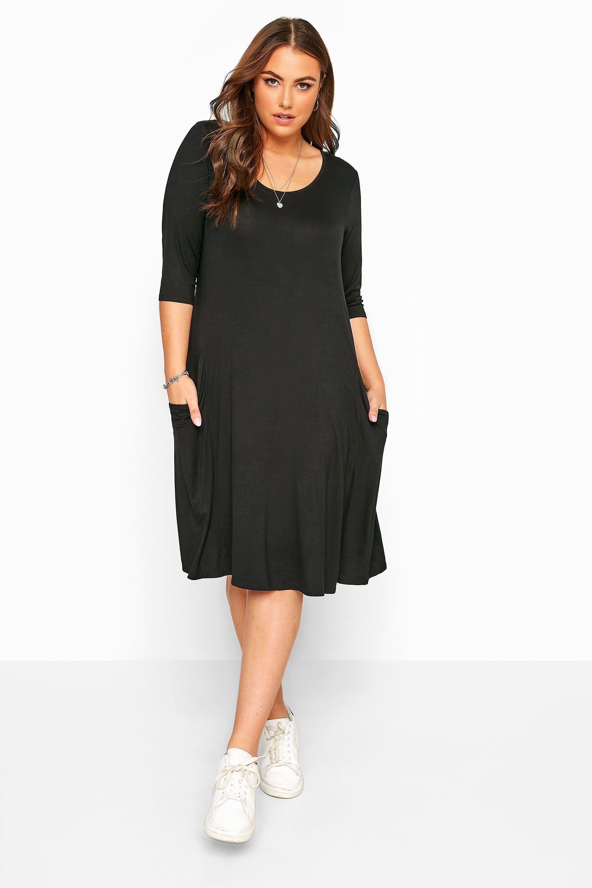Black Drape Pocket Dress