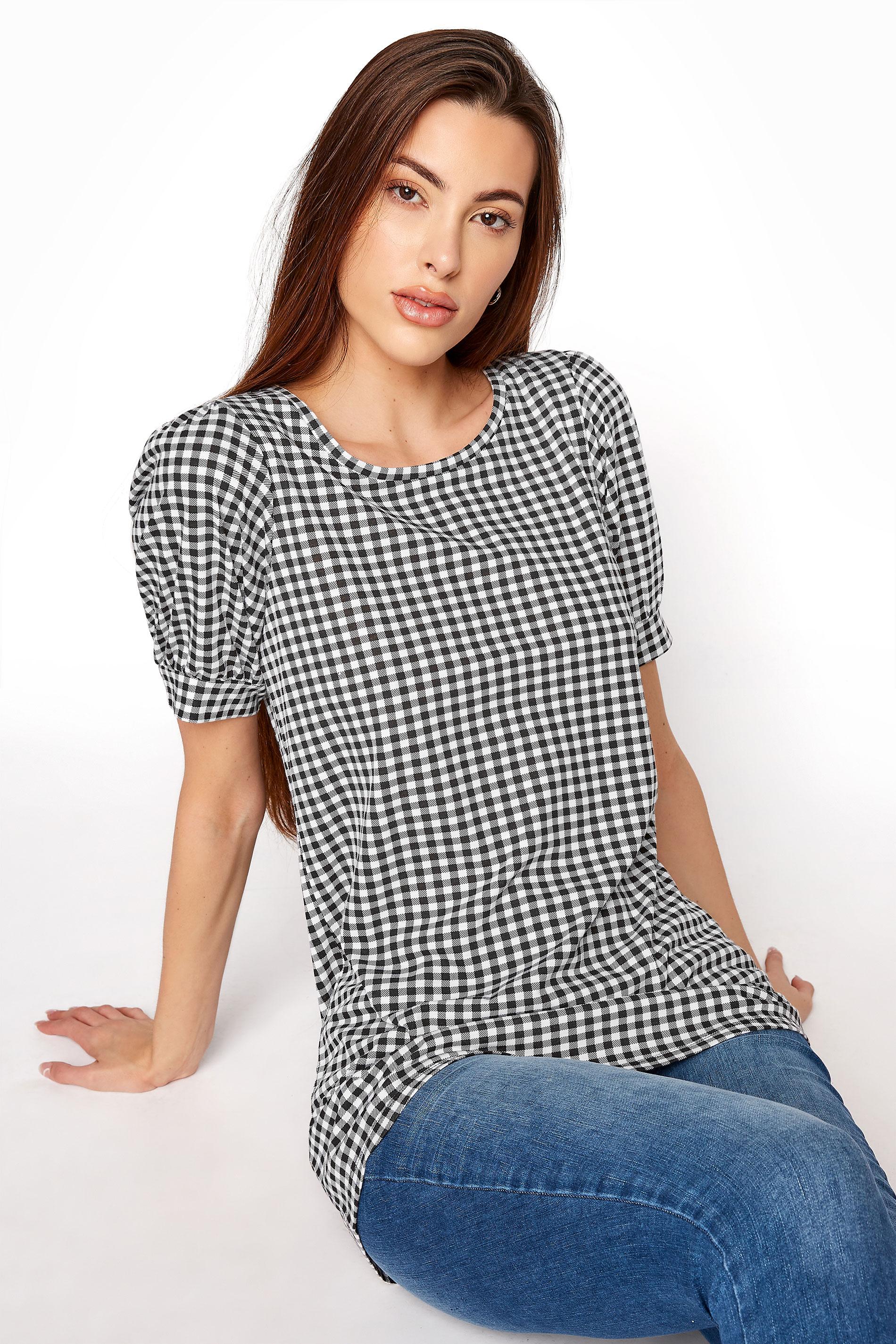 LTS Black Gingham Puff Sleeve T-Shirt_A.jpg