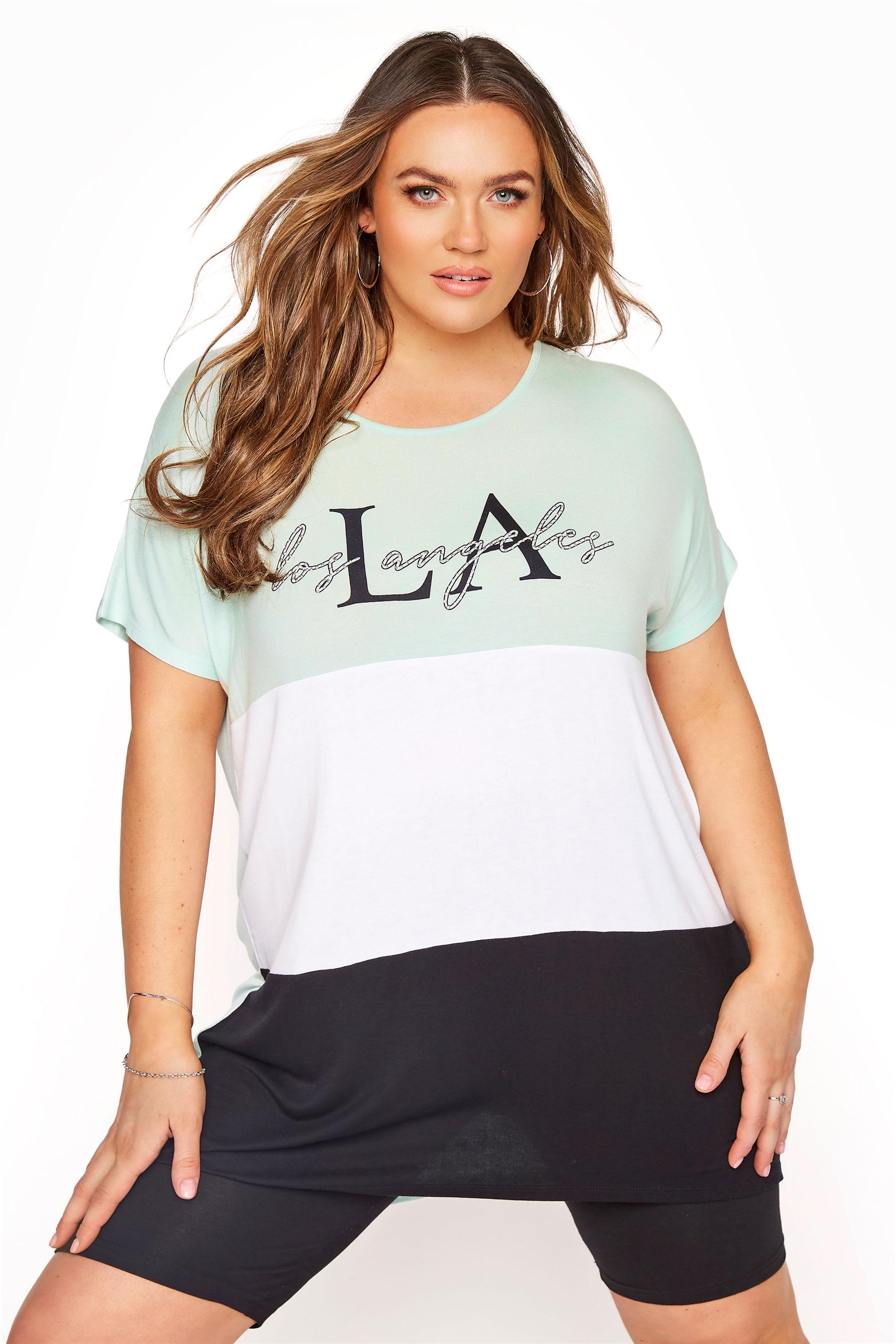 Mint Green Colour Block LA T-Shirt