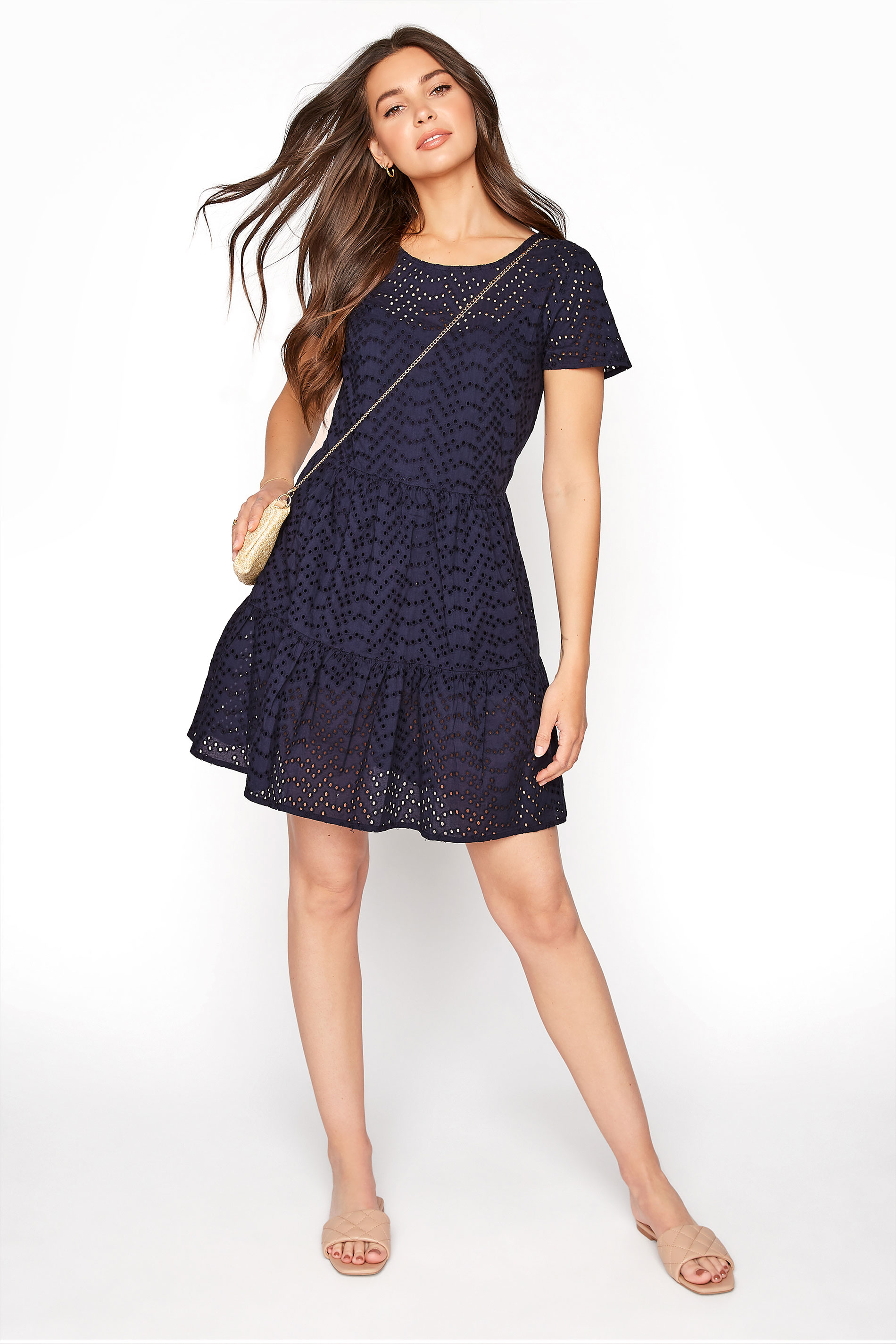 LTS Navy Broderie Anglaise Tiered Tunic