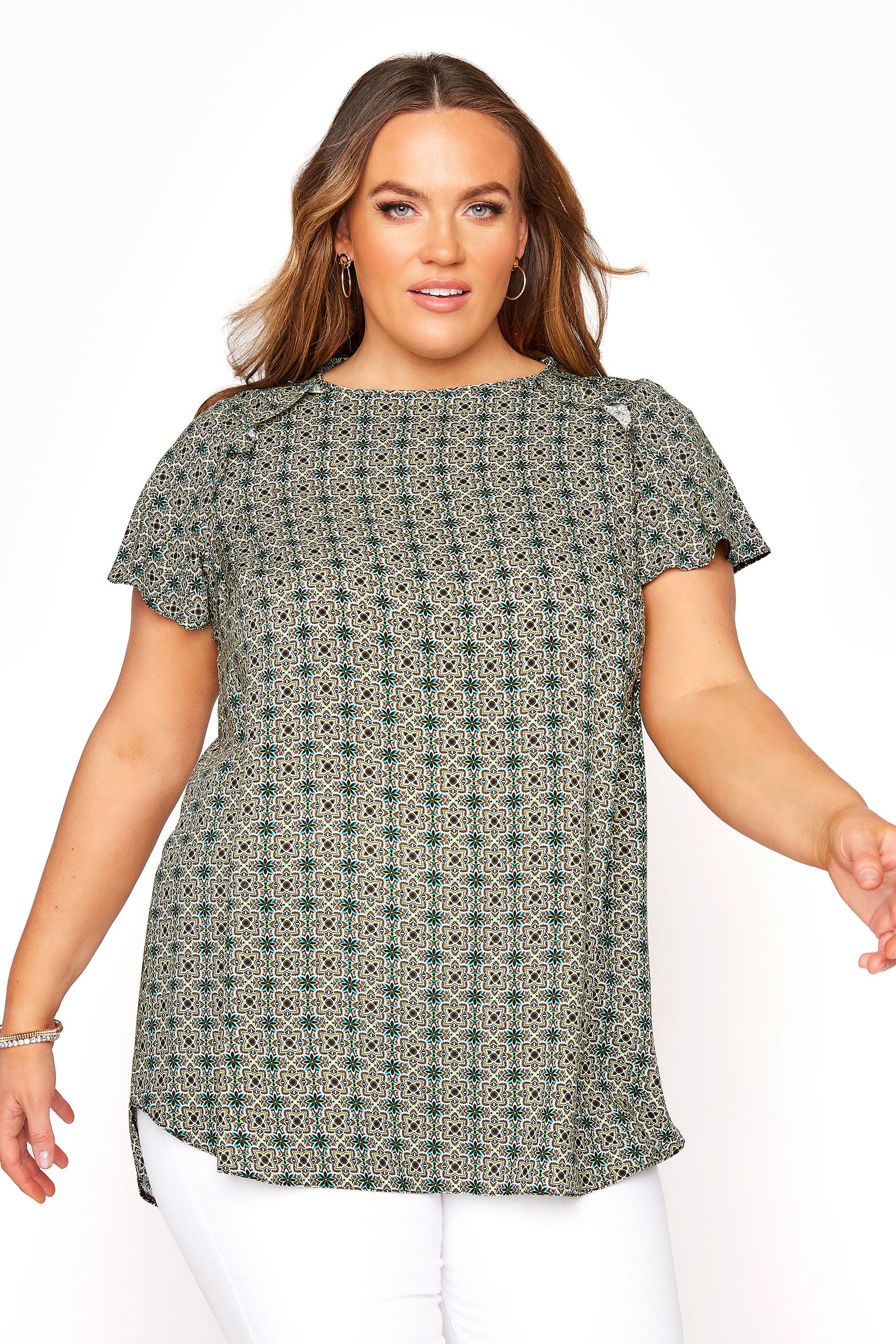 Green Tile Frill Shoulder Blouse