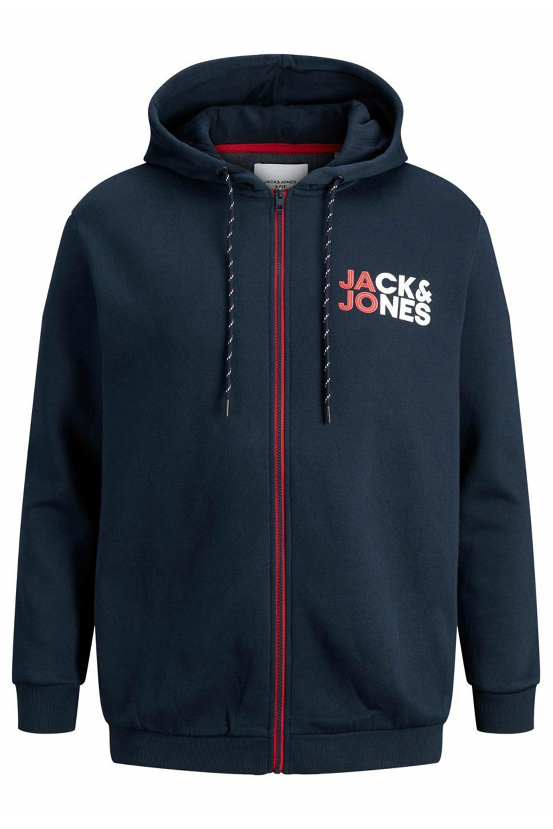 JACK & JONES Navy Logo Zip Through Hoodie