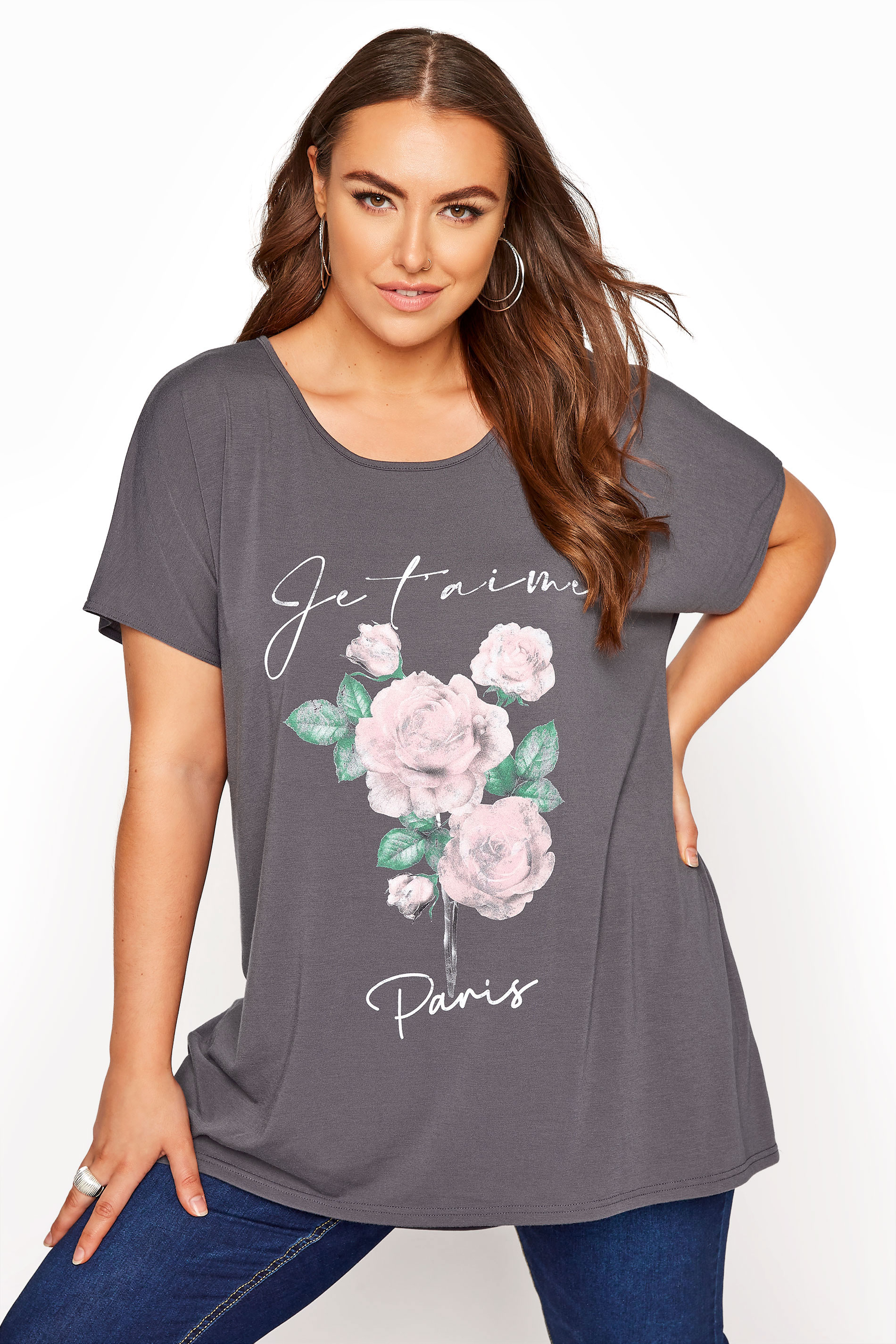 Grey 'Je t'aime Paris' Slogan Dipped Hem T-Shirt