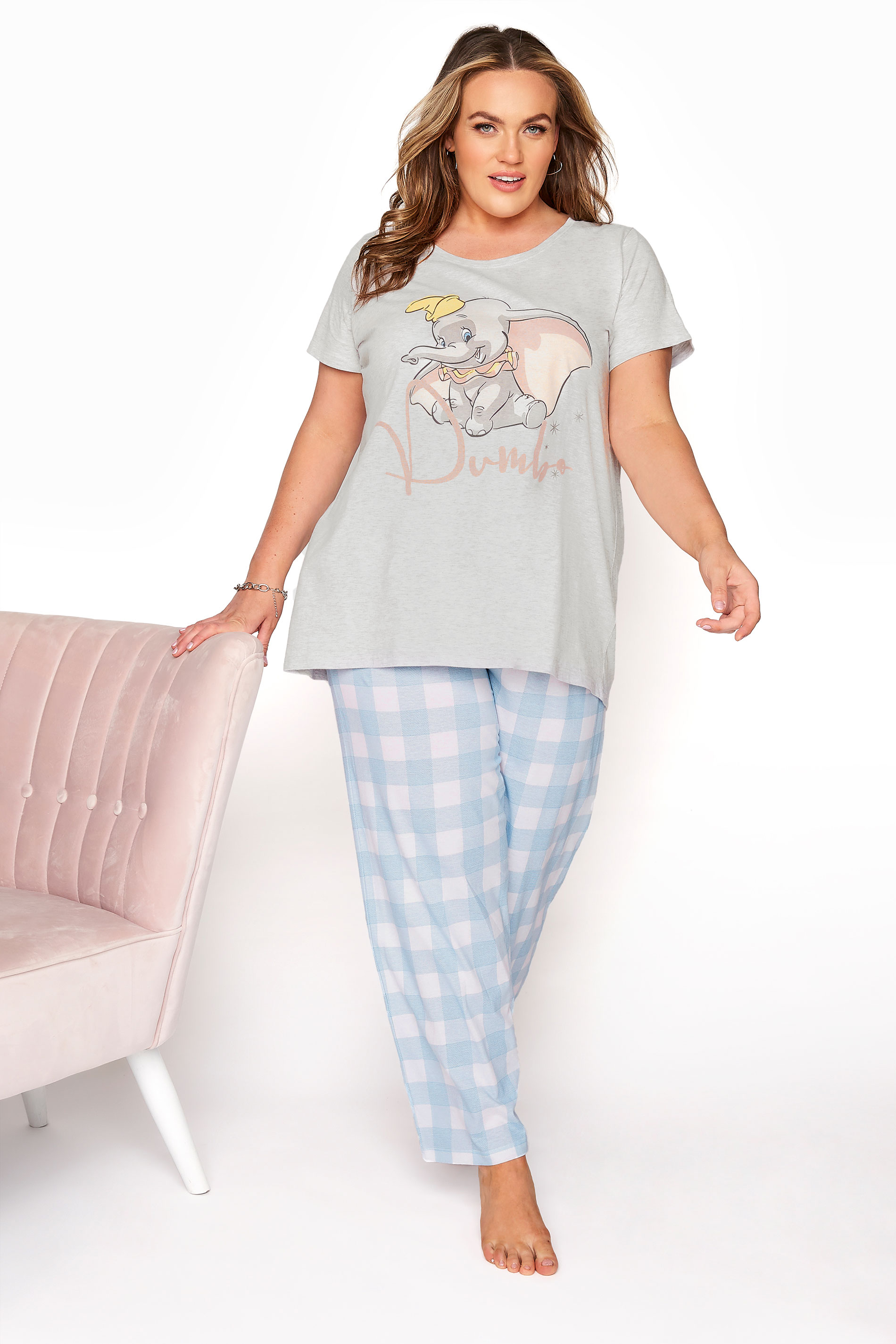 DISNEY Grey Dumbo Check Print Pyjama Set_A.jpg