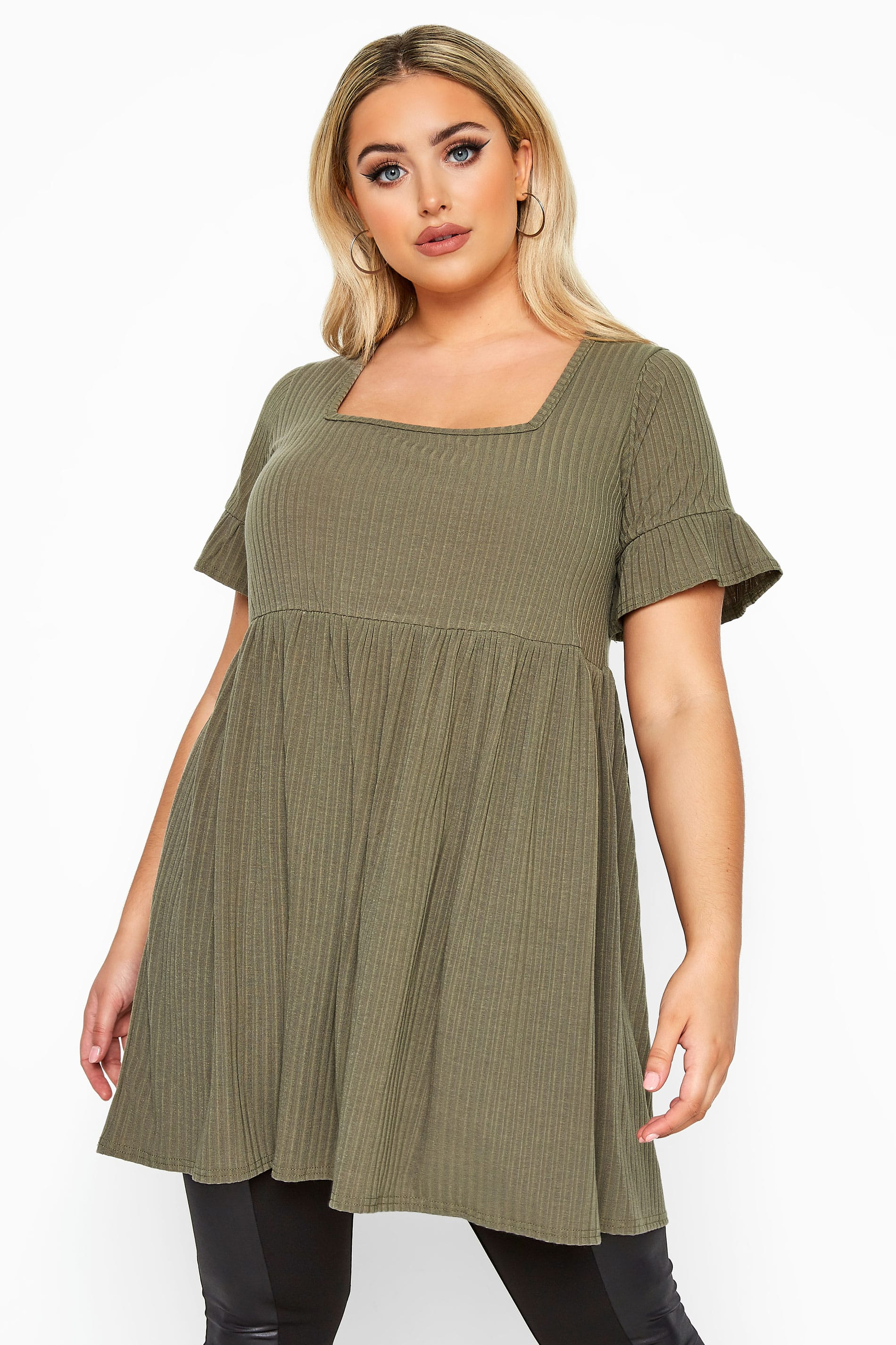 LIMITED COLLECTION Khaki Ribbed Square Neck Smock Top
