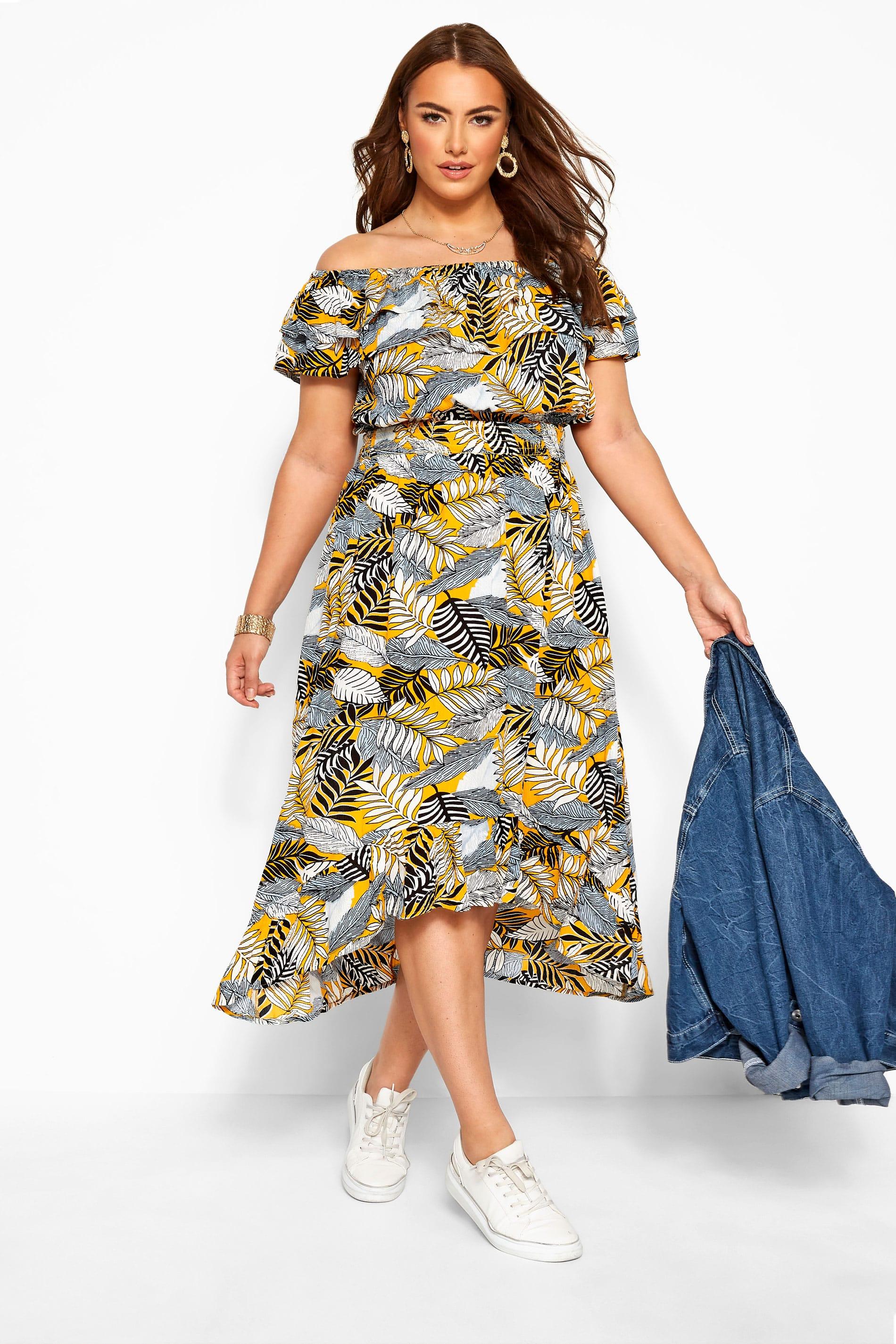 Yellow Tropical Print Bardot Midi Dress